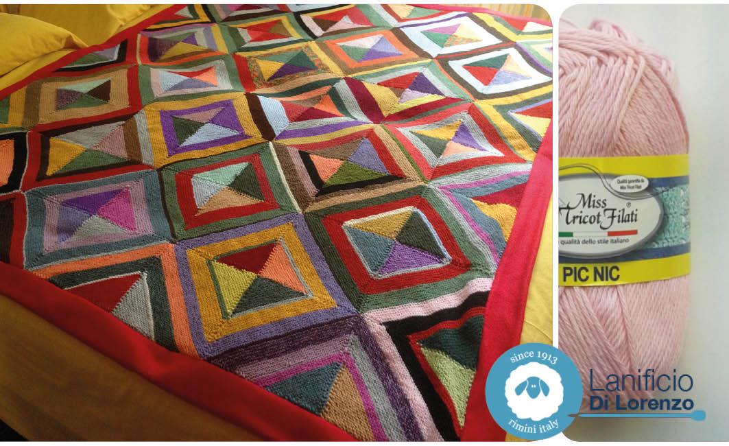 coperta granny square geometrica